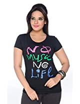 No Problem Womens Tee-shirt-Black(Size X-Large)