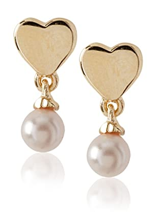 Frida Girl Gold and Pink Pearl Drop Earrings