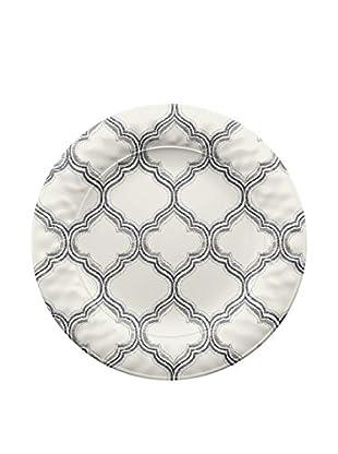 Ikat Melamine Dinner Plate, White/Grey