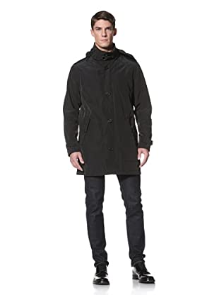 Andrew Marc Men's Waverly Stand Collar Rain Coat with Hidden Hood (Black)
