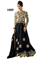 Rozdeal Women Net Embroidery Black Floor Touch Anarkali Suit