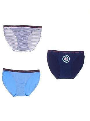 UNNO Braguita Pack x 3 Bikini (Blanco/Marino/Celeste)