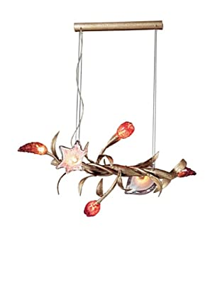 Artistic Lighting 6 Light Chandelier in Silver Leaf and Hand Formed Glass Flowers