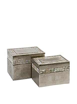 Set of 2 Hallowell Aluminum Mother of Pearl Style Boxes