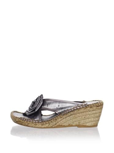 André Assous Women's Twist Espadrille Sandal (Pewter Silk)
