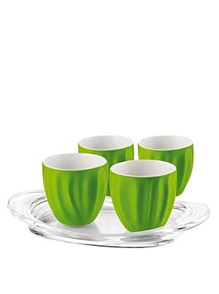 Guzzini Set 4 Bicchierini Caffè Aqua Verde con Vassoio