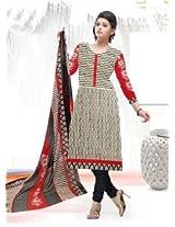 Saara White And Black Printed Dress Material - 139D110