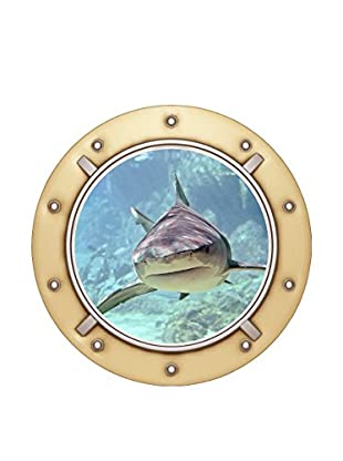 Ambiance Live Wandtattoo Shark porthole (Reusable) mehrfarbig