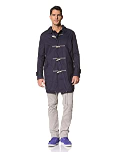 Yigal Azrouël Men's Washed Cotton Unlined Toggle Coat (Midnight Blue)
