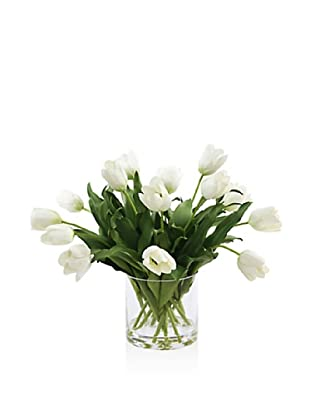 Winward Tulip In Glass (White)