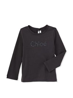 Chloé Girl's Studded Long Sleeve Keyhole Tee (Grey)