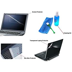 Combo of Callmate Screen Protector + Cleaning Kit + Keyboard Skin + Laptop Skin for 15.6 Inch Laptop