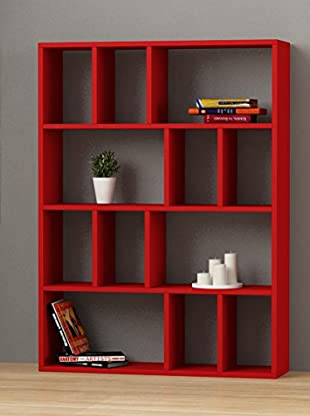 Decortie by Homemania Librería Donie (Rojo)