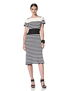 Yigal Azrouel Women's Striped Short Sleeve Fitted Dress (Bone Midnight)