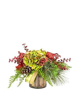 Creative Displays Green Hydrangea & Pine Birch Stick Pot, Green/Red/Tan