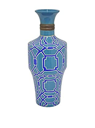 Three Hands Ceramic Vase, Blue