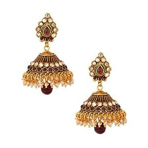 Voylla Gold Plated Kundan Studded Jhumkis With Meenakari Work