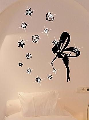 Ambiance Live Wandtattoo Fairy with stars and diamonds x15 Swarovski Elements® schwarz