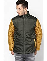 Olive Bomber Jacket With Contrast Sleeves