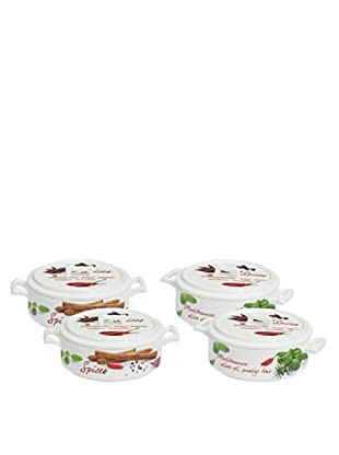 Easy Life Design Set 4 Mini Casseruole da Forno in Porcellana Cuisine Ø 7,5 cm