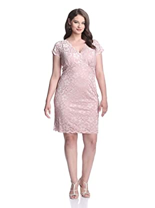 Marina Plus Women's V-Neck Lace Dress (Blush)