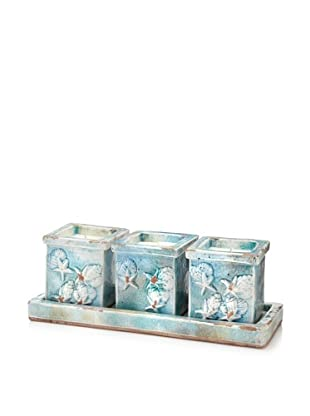 Set of 3 Sea Icon Ceramic Candle Pots on Tray, Pale Blue