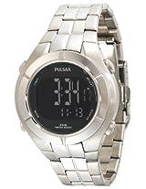 Pulsar Men's PR2001 Digital Chronograph Silver-Tone Watch