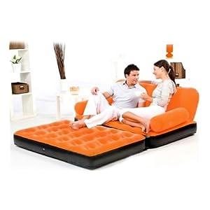 Air Bed Mattress Orange Velvet Sofa- Inflatable Bestway 5 In 1