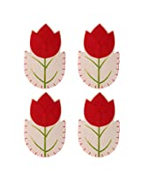 Generic 4pcs Red Flower Tableware Silverware Suit Cutlery Dinner Knife Fork Holder