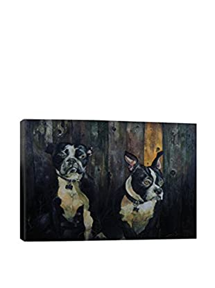 Alex Rydlinski 2 Dogs Before An Old Fence Gallery Wrapped Canvas Print