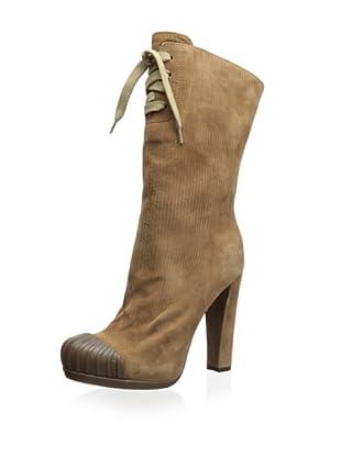 Fendi Women's Lace-Up Heeled Boot (Beige)