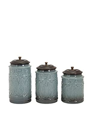 Set of 3 Taylor Ceramic Canisters, Blue