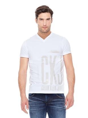 Calvin Klein Jeans Camiseta Stretch Cuello V M / C (Blanco)