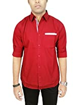 AA' Southbay Men's Maroon Printed 100% Premium Cotton Long Sleeve Party Casual Shirt