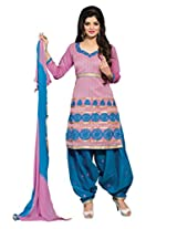 Vibes Pure Chanderi Unstiched Dress Material (V23009_Pink)