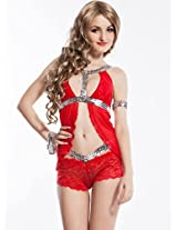 Shine-on Short Babydoll with panty, NY7741-Red