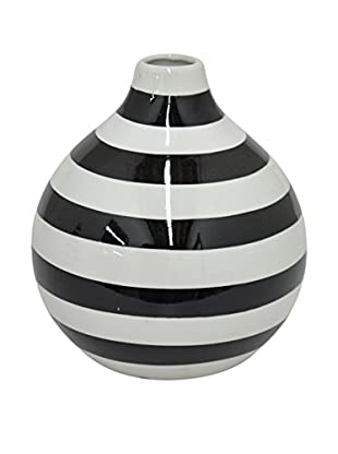 Three Hands Short Geometric Ceramic Vase, Black/White