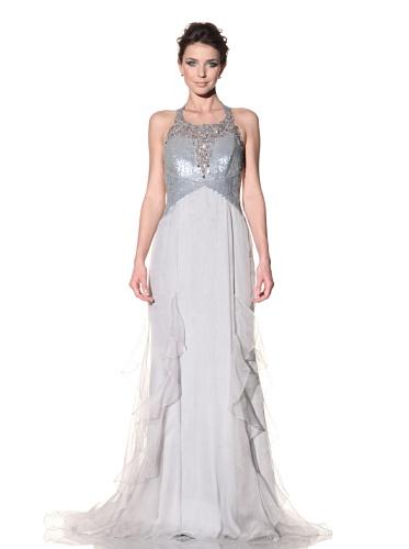 Badgley Mischka Women's Deco Sequined T-Back Gown (Silver)