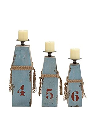 Set of 3 Distressed Wood and Metal Candle Holders