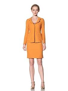 Philosophy di Alberta Ferretti Women's Textured Jacket with Topstitched Trim (Orange)