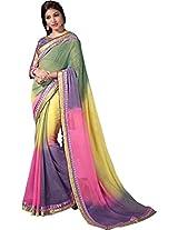 Multicolor Wedding Wear Saree Embroidery StoneWith Designer Blouse Georgette Sari