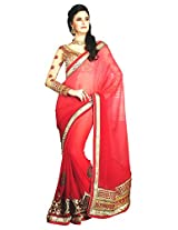 Faux Georgette Red & Colour Saree for Party Wear