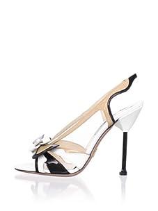PRADA Women's Slingback Sandal (White/Black)