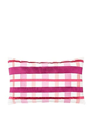 Trina Turk Chevron Dots Plaid Pillow, White/Fuchsia, 12