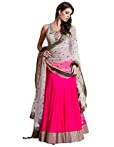 Clickedia Women Georgette White & Pink beautiful Full Kali lehenga With Velvet Dupatta and Blouse piece