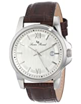 Lucien Piccard Men's 10048-02S-BRW Breithorn Silver Textured Dial Brown Leather Watch