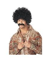 70s Pornstar Black Wig & Moustache Set