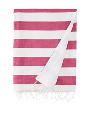 Nine Space Ayrika Beach Collection Wide Stripe Terry Fouta Towel (Pink)