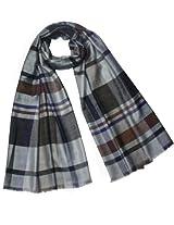 Casual Chic Plaid Stripes Viscose Long Scarf - Gray