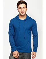 Solid Blue Hooded T Shirt